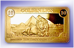 TEN OUNCE GOLDEN LION BAR