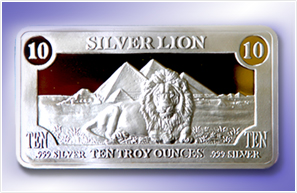 TEN OUNCE SILVER LION BAR